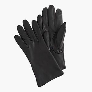J Crew Cashmere-Lined Leather Tech Gloves